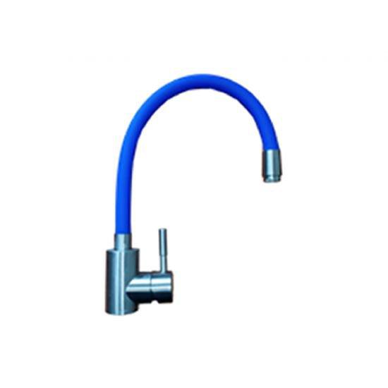 LA9006C Смеситель Lemen D35 для кухни, с гибким изливом, крепеж - гайка, цвет - синий (нержавеющая сталь)