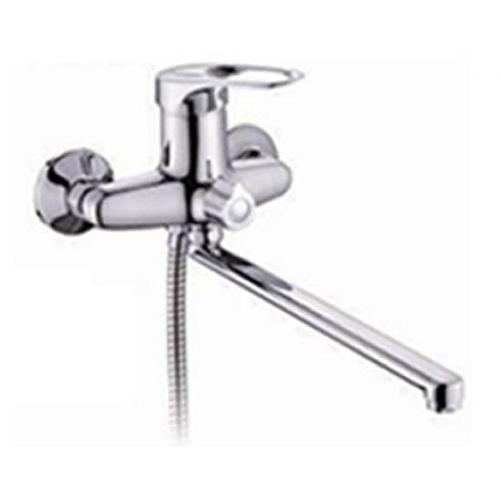 LB-2568 Смеситель Lemen D40 для ванны, длинный нос, переключатель в корпусе, кранбукса, картридж керамический (цинк)