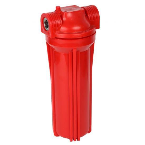 """Фильтр магистральный для горячей воды (1/2"""", без картриджа, непрозрачный красный корпус 10"""")"""